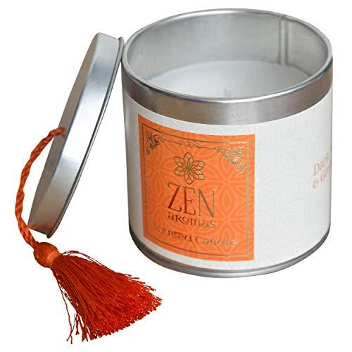 Hogar & Mas geurkaars cadeau 120 g, geurkaarsen Zen met decoratieve doos, 7,5 x 7,5 x 7 cm, oranje