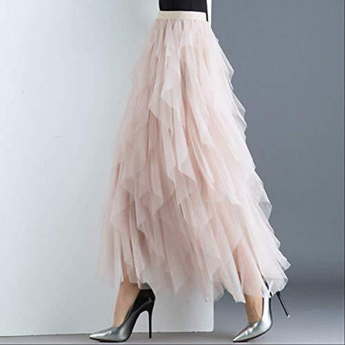 MIBKLPG Frauen Unregelmäßige Tüllröcke Mode Elastische Hohe Taille Mesh Rock Plissee Lange Röcke One Size 3 Apricot