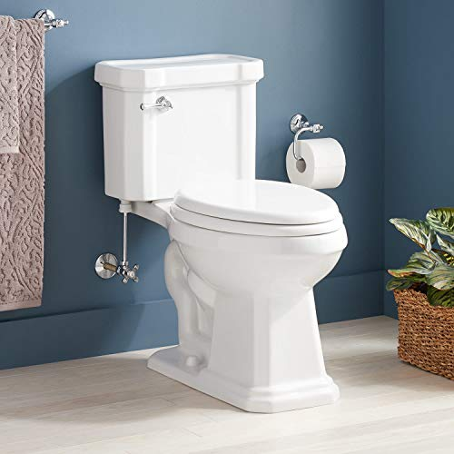 Signature Hardware 948422-L Amberley 1.28 GPF Two Piece Elongated Chair Height Toilet - Seat Included