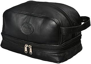Mens Toiletry Bag Shaving Dopp Kit For Travel by Bayfield Bags (Black) Bottom Storage Holds More-Leather Toiletry Bag For Men-Bathroom Shower Bag For Grooming Toiletries