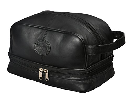 Mens Toiletry Bag Shaving Dopp Case for Travel by Bayfield Bags (Black) Men's Shower Bag for Bathroom Hygiene. Holds Beard Trim Kit Accessories and Body Shavers.