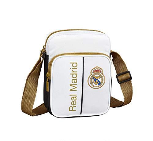 Safta 611954672 Real Madrid 19/20 Bolso bandoler 16x22x6, Juventud Unisex, Blanco/Negro, TU