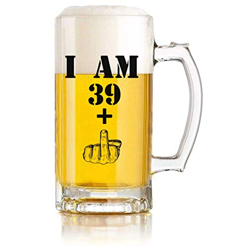 I am 39+, One Middle Finger Beer Mug 40th Birthday present for Men Women Beer Glass–Funny 40 Year Old Presents-16 oz Pint Glasses-present Ideas for Dad Mom Husband Wife 40th