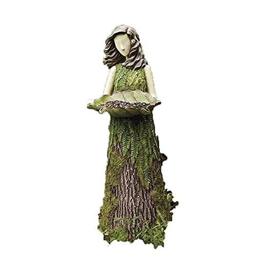 QKFON Estatua de mujer comedero de pájaros, adorno de resina para decoración de jardín al aire libre, decoración para césped, jardín, escuela, iglesia, arbusto