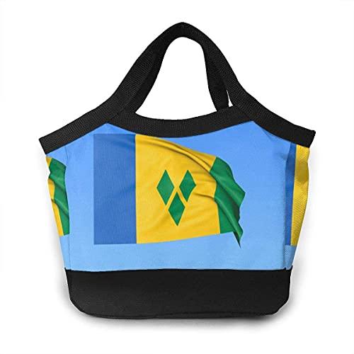 Handtasche mit winkender Flagge von Saint Vincent tragbar auslaufsicher Snacks Mittagessen Tasche Gourmet Tote Beutel Lebensmittel Taschen für Männer Frauen Jugendliche Kinder Arbeit Schule
