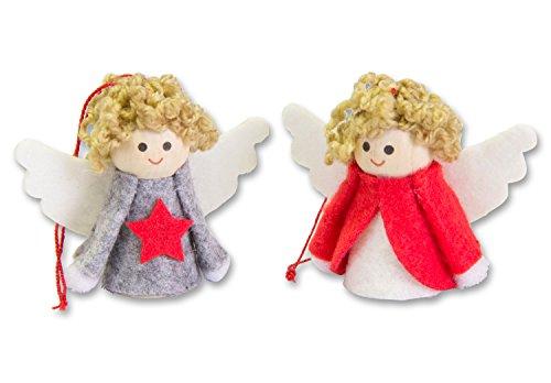 Set di Natale Angelo Ciondolo in visione Box, 2modelli assortiti, Legno/feltro, Natale Albero Gioielli Regali Natale Angelo Angioletto