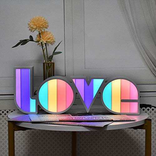GUOCHENG LED Love Sign Lights - Love Marquee Signs Lamp Battery&USB Power Love Letters Decoration for Home Children Kids Bedroom Nursery,Valentine's Day Gifts(Rainbow)