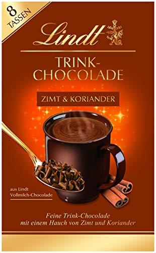 Lindt Trinkschokolade Zimt & Koriander, feine Trink-Chocolade mit enem Hauch von Zimt & Koiander zum Einrühren in Milch oder Wasser, 8 Tassen, 120g