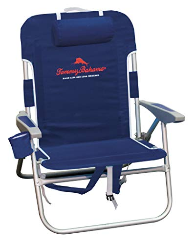 """Tommy Bahama Big Boy 4-Position Folding 13"""" High Seat Backpack Beach or Camping Chair, Navy"""