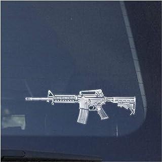 AR15 Assault Rifle Clear Vinyl Decal Sticker for Window, Detailed Gun Sign Art Print Design-White