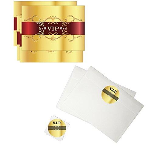 16 Einladungskarten Kindergeburtstag mit Umschlag / VIP / Promi Party / Exklusive Party / Gold
