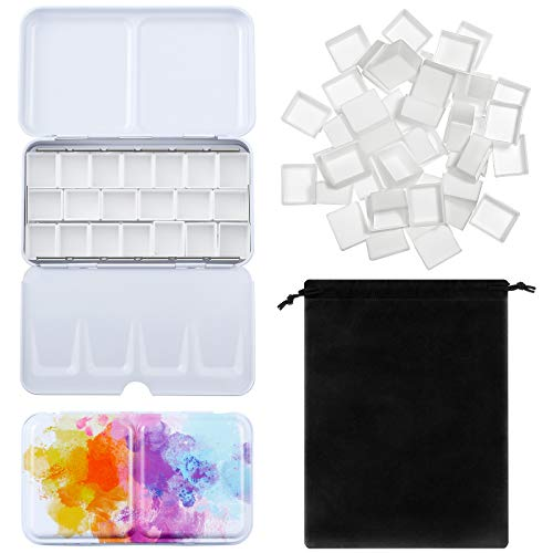 51 Pieces Watercolor Paint Palette and Half Pans Set Watercolor Tin Box Metal Palette Paint Case with Lid Empty Watercolor Pans with Black Storage Bag for Travel Painting Artist (Chic Color)
