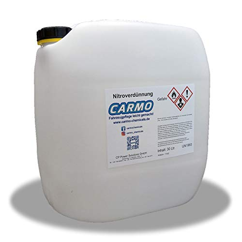 CARMO Nitroverdünnung   Universalverdünnung   Frischware ohne Regenerate   Verdünnung von Farbe und Lack   Reinigt Lackreste von Pinseln, Werkzeugen, Lackiergeräten und Behältern   30 Liter Kanister