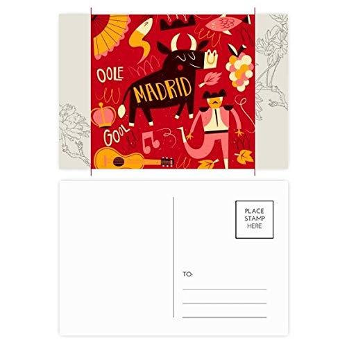 DIYthinker Madrid Spanisch Stier Musik Fiesta-Blumen-Postkarte Set dankt Karte Mailing Side 20pcs 5.7 Zoll x 3.8 Zoll Mehrfarbig