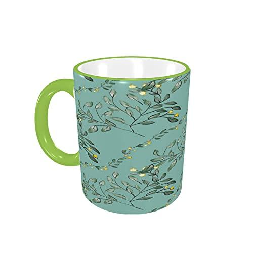 Taza de café Provence Country Floral Leaf Tazas de café Tazas de cerámica con Asas para Bebidas Calientes - Cappuccino, Latte, Tea, Coffee Gifts 12 oz Orange