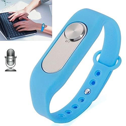 Zomeber Pulsera Inteligente WR-06 Wearable Pulsera de 8 GB Grabadora Digital de Voz Reloj de Pulsera, un botón de Grabación de Larga duración (Negro) (Color : Blue)
