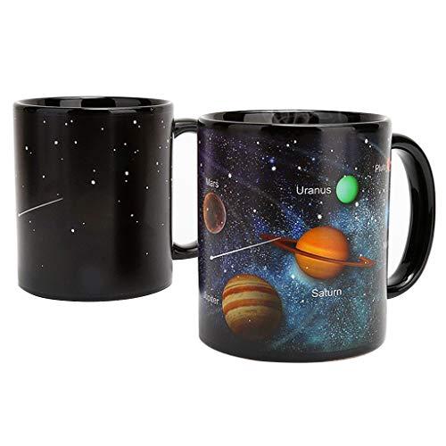 Amycute Taza con efecto térmico que cambia de color con el cambio de color del sistema solar, taza de café, taza de cerámica, regalo para entusiastas de la astronomía