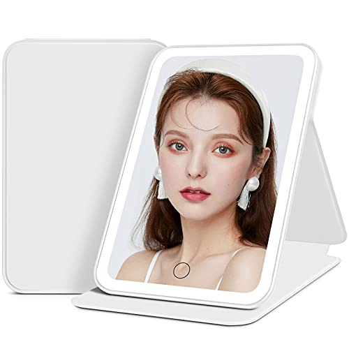 Lighted Makeup Mirror, Rechargeable Travel Vanity Mirror with 3 Color LED Lights, Tabletop Portable Mirror for Beauty, Sensor Touch Dimmable Compact Cosmetic Mirror, Leather Case DIY Sticker - White