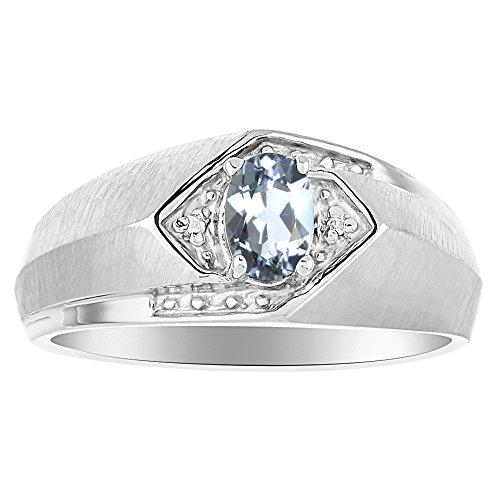 Plata de Ley Anillo De Birthstone o amarillo chapado en oro plata aguamarina y anillo de diamante