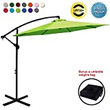 ABCCANOPY Patio Umbrellas Cantilever Umbrella Offset Hanging Umbrellas 10 FT Outdoor Market Umbrella with Crank & Cross Base for Garden, Deck, Backyard, Pool and Beach