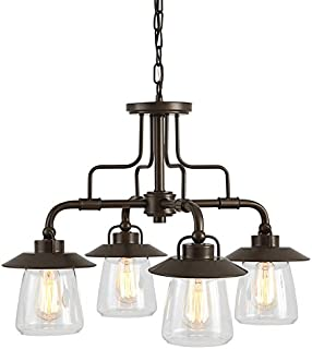 Bristow 24.02-in 4-Light Specialty Bronze Rustic Clear Glass Shaded Chandelier