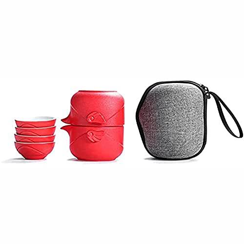 Tetera de cerámica de estilo japonés hecha a mano, portátil, para viajes, hogar, al aire libre y oficina, color rojo