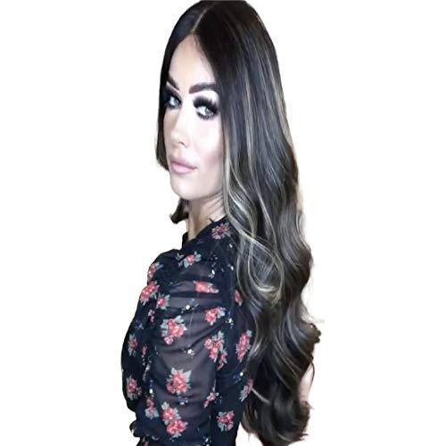 Braziliaanse zwarte dame met lang haar, groot golvend krullend haar, gemengde kleuren, kunstmatige pruik, hoogwaardige synthetische pruik