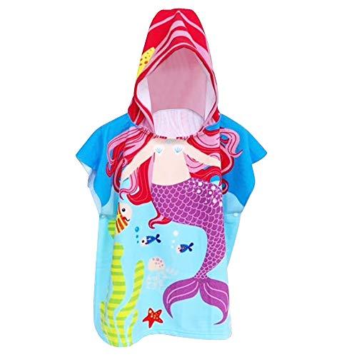 MMTX Sirena Asciugamano Poncho da Bambino per Spiaggia Bagno Doccia Nuotare Piscina Accappatoio per Ragazze Ragazzi Bambini Asciugamano 3-8 Anni