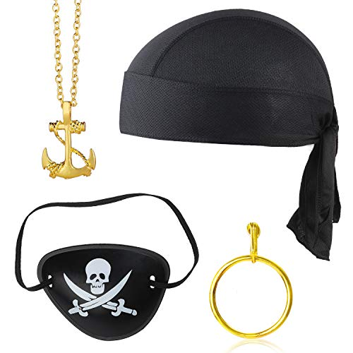 Beelittle 4 stuks Captain Pirate kostuum accessoire set Doo Rag Skull Cap Pirate Eye Patch gouden oorbel ketting Halloween Pirate accessoires Kit (E)