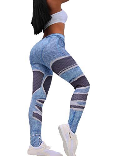 Sethain Rutina de ejercicio Corriendo Polainas Impresión de jeans Extremo Hacer subir Polainas Cintura alta Medias de yoga Tramo Pantalones de gimnasia Medias deportivas para mujeres y niñas (M)