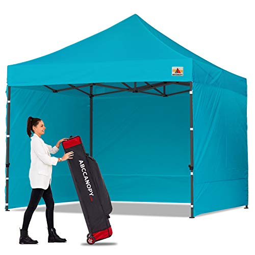 ABCCANOPY Canopy Tent Popup Canopy 10x10 Pop Up Canopies Commercial Tents Market stall with 6 Removable Sidewalls and Roller Bag Bonus 4 Weight Bags and 10ft Screen Netting and Half Wall,Turquoise