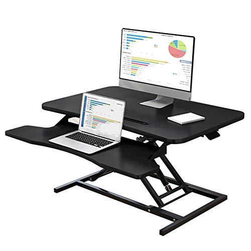 Computer Permanent Bureau, Sit To PC Toptable (47 * 65Cm) Stand Met Toetsenbord Rack - in Hoogte Verstelbare Black Laptopstandaard Voor Het Instellen Van Studenten/Kid Stand Up Work/Leer