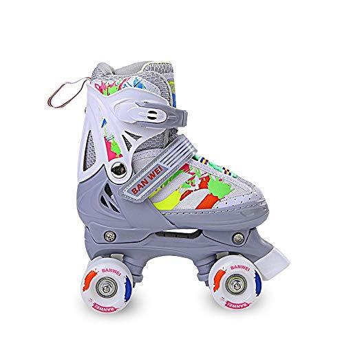 Skates Roller Kinder-Quad Anfänger Adjustable Roller Quad Entwurf for Mädchen und Jungen (Color : Grey, Size :...