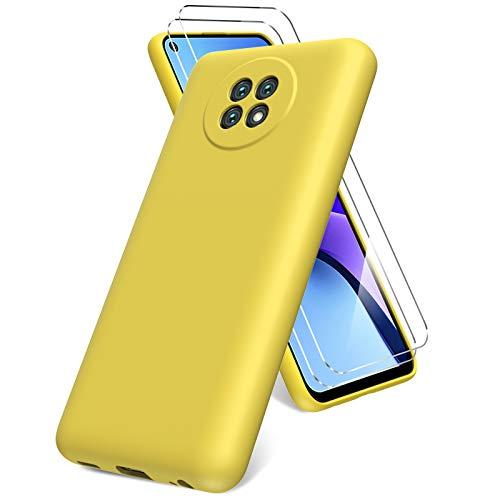 Vansdon Funda Compatible con Xiaomi Redmi Note 9T, 2 Unidades Protector Pantalla Cristal Templado, Silicona Líquida Gel Ultra Suave Funda- Amarillo