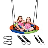 Sunnyglade 40 Inch Kids Saucer Tree Swing Set 600D Heavy-Duty Oxford Fabric Platform Swing Seat with Steel Frame & Carabiner Support 550 lb