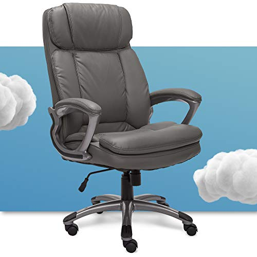 Serta Faux Big & Tall Executive Office Chair High Back All Day Comfort Ergonomic Lumbar Support, Bonded Leather, Gray