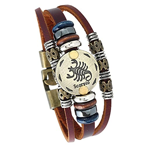 ODKKAYA 12 Constelación pulsera de cuero retro tejido multicapa cuero pulsera marrón pulsera para hombres mujeres parejas, Cuero,