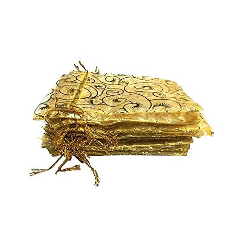 litulituhallo Organza-Geschenkbeutel mit Kordelzug, für Schmuck, Süßigkeiten, Schokolade, Champagner, Gelb, 100 Stück