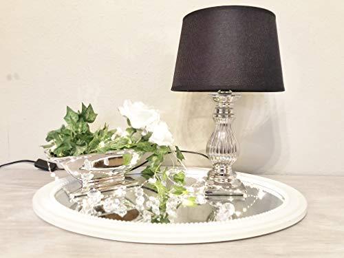 DRULINE Lámpara de mesa Steffi lámpara de noche con pantalla clásica decoración para dormitorio salón comedor de cerámica plata pie, Negro , Mittel H47 cm