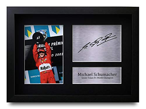 HWC Trading Michael Schumacher A4 Gerahmte Signiert Gedruckt Autogramme Bild Druck-Fotoanzeige Geschenk Für F1 Formel Eins Fans