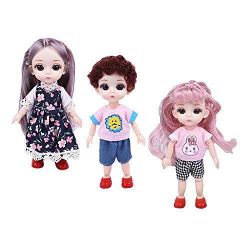HomeDecTime 3 Pezzi 6quot; 14 Bambola BJD con Snodo a Sfera con Vestiti, Scarpe, Bambola
