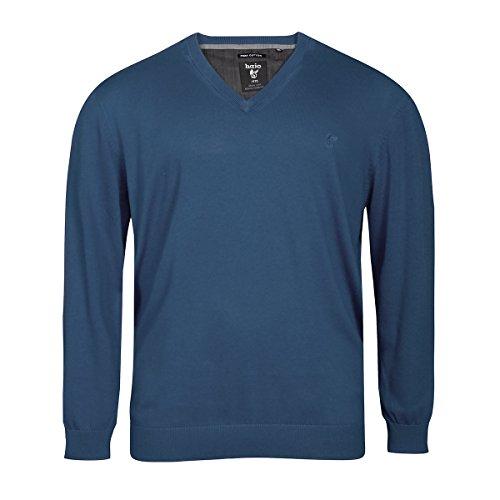 hajo Übergrößen V-Neck Pullover Pima Cotton Jeansblau, deutsche Größe:60