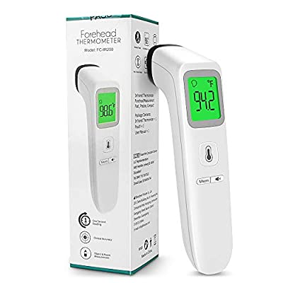 Touchless Thermometer for Kids Adults-KALAOK Forehead Infrared Thermometers No Touch Digital Thermometers for Baby with Batteries Accurate Reading Fever Alarm and 35 Sets Memory Function