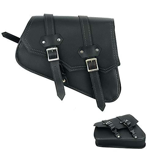 Moto Bolsa de sillín Equipo de Cuero Organizador de Almacenamiento Paquete de Asiento Bolsa de sillín Caja de Herramientas de Almacenamiento Impermeable (Negro)
