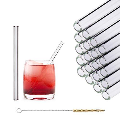 HALM Glas Strohhalme Wiederverwendbar Trinkhalm - 20 Stück kurz gerade 15 cm + plastikfreie Reinigungsbürste - Spülmaschinenfest - Nachhaltig - Glastrinkhalme Glasstrohalme für Tumbler Cocktailgläser