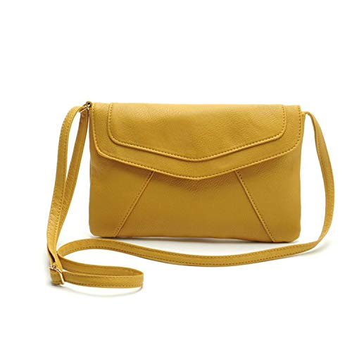 FORU Official Store Vintage Donne Busta Satchel Borsa a Tracolla Borsa in Pelle PU Messenger Messenger Cross Body Small Bag Drop Ship #T, Giallo, (A tinta unita), Taglia unica