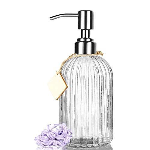 XUFAN Recargable dispensador de jabón 15 OZ transparente dispensador de jabón de cristal con bomba de acero inoxidable anti-herrumbre for encimeras de baño, cocinas, cuartos de lavado (transparente) d