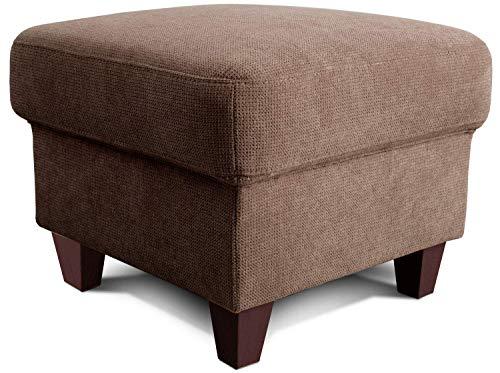 Cavadore Hocker Finja / Polsterhocker im Landhausstil / Fußbank für's Wohnzimmer passend zum Sessel Finja / 59 x 47 x 59 / Webstoff Taupe (Hellbraun)