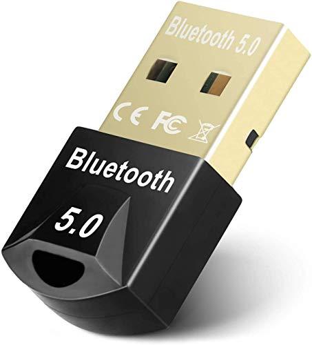 Adaptador Bluetooth 5.0, Bluetooth USB Dongle Transmisor y Receptor para PC con Windows XP/7/8/8.1/10, Bluetooth Network Adapter para portátil, Auriculares, Altavoces, Teclado
