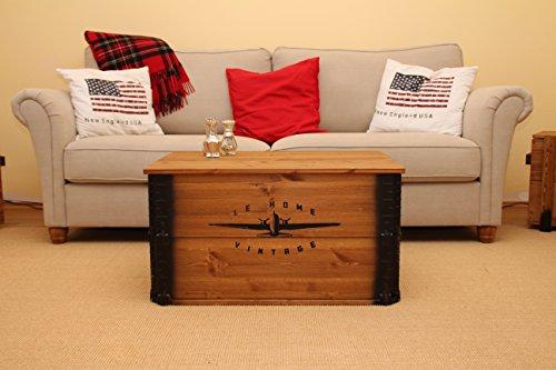 Uncle Joe´s Truhe Le Home Couchtisch Truhentisch im Vintage Shabby chic Style aus Massiv-Holz in braun mit Stauraum und Deckel Holzkiste Beistelltisch Landhaus Wohnzimmertisch Holztisch nussbaum - 7